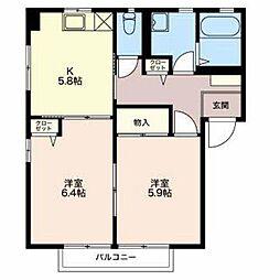 長野県長野市三輪1丁目の賃貸アパートの間取り