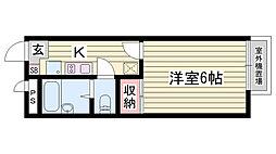 山陽電鉄本線 西新町駅 徒歩26分の賃貸アパート 1階1Kの間取り