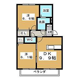 ロイヤルガーデン ききょう館[2階]の間取り