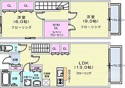 仙台市地下鉄東西線 薬師堂駅 3.4kmの賃貸アパート 1階2LDKの間取り