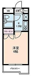 ジョイフル蒲田[4階]の間取り