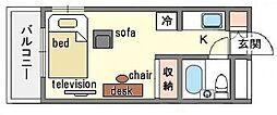 家具・家電付きラ・レジダンス・ド・天神 E[5階]の間取り