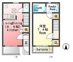 [テラスハウス] 栃木県真岡市熊倉3丁目 の賃貸【/】の間取り