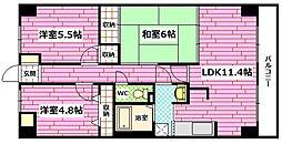 広島県広島市安佐南区西原6丁目の賃貸マンションの間取り