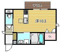 大阪府高槻市昭和台町2丁目の賃貸アパートの間取り