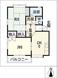 オアシス中央C棟[1階]の間取り