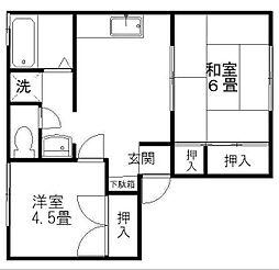 兵庫県豊岡市野上の賃貸アパートの間取り