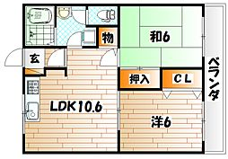 ユーハイム広徳[1階]の間取り
