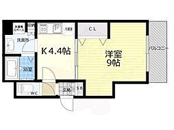 京都市営烏丸線 京都駅 徒歩8分の賃貸マンション 4階1Kの間取り