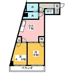 ハニーハイツ渡辺II[8階]の間取り