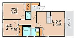ビーウィズA棟[1階]の間取り