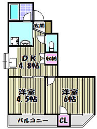 エクセル万代[3階]の間取り