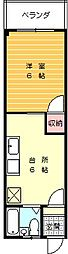 林マンション 3階1DKの間取り