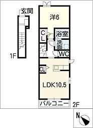 スクエア新正 II[2階]の間取り
