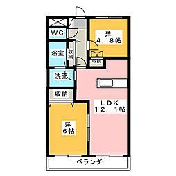 愛知県清須市西枇杷島町小田井3丁目の賃貸マンションの間取り