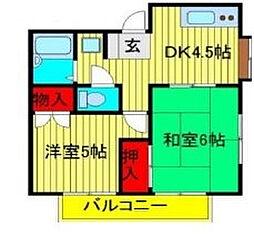 ドフィーヌときわ平4[1階]の間取り