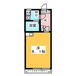 LiLi TAKAIDO 1階1Kの間取り