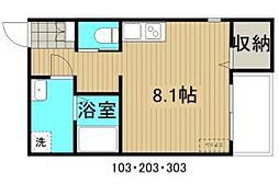 JR山陽本線 福山駅 徒歩15分の賃貸アパート 1階ワンルームの間取り