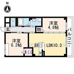 エルヴィータ大山崎 3階2LDKの間取り