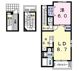 JR山陽本線 西明石駅 徒歩22分の賃貸アパート 3階1LDKの間取り