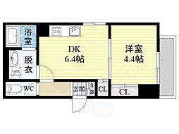 Osaka Metro長堀鶴見緑地線 蒲生四丁目駅 徒歩4分の賃貸マンション 1階1DKの間取り