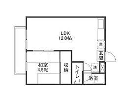 岡山県岡山市北区下伊福本町の賃貸アパートの間取り