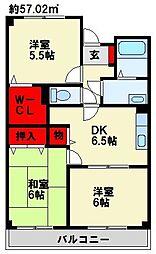 グリーンハイム田原新町[203号室]の間取り
