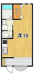 メゾンオリヴィエ 2階ワンルームの間取り