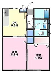 コンフォート的場[2階]の間取り