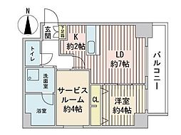 S-RESIDENCE円山表参道 7階1SLDKの間取り