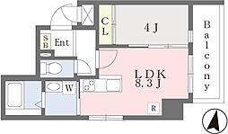 JR香椎線 香椎駅 徒歩3分の賃貸マンション 7階1LDKの間取り