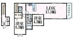 K'sCourt六甲 2階2LDKの間取り