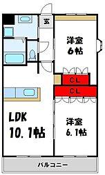 JR筑豊本線 桂川駅 3.1kmの賃貸アパート 2階2LDKの間取り