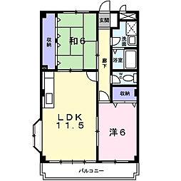 神奈川県相模原市緑区下九沢の賃貸マンションの間取り