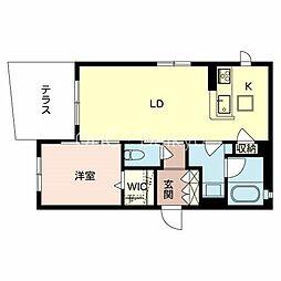 (仮称)八尾市シャーメゾン東本町2丁目計画 1階1LDKの間取り