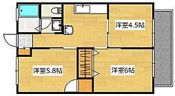 コーポM&H[2階]の間取り