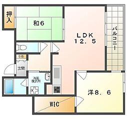 京阪本線 大和田駅 徒歩15分の賃貸マンション 1階2LDKの間取り