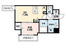 JR東海道・山陽本線 東淀川駅 徒歩2分の賃貸マンション 9階1DKの間取り