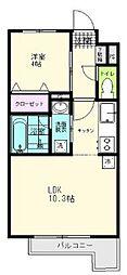 JR仙石線 陸前原ノ町駅 徒歩7分の賃貸アパート 1階1LDKの間取り