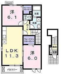 ラルジュグリーンE[2階]の間取り