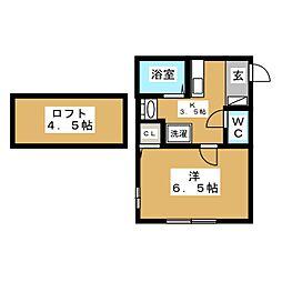 ジョルノ橋本 1階1Kの間取り