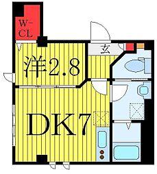 東武東上線 下板橋駅 徒歩5分の賃貸マンション 1階1DKの間取り
