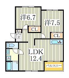 千葉県白井市西白井2丁目の賃貸アパートの間取り