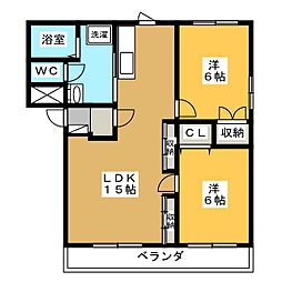 ヒーローマンションアサヒ[3階]の間取り