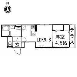 JR東海道・山陽本線 長岡京駅 徒歩10分の賃貸アパート 1階1LDKの間取り