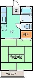 パナハイツ くすの木 A棟[205号室]の間取り