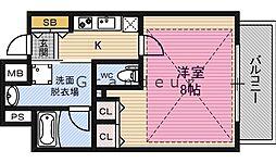 レジュールアッシュ大阪城EAST 3階1Kの間取り