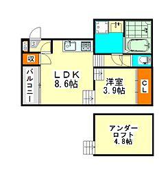 愛知県名古屋市中川区中郷2丁目の賃貸アパートの間取り