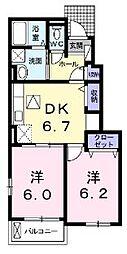 広島県福山市水呑町の賃貸アパートの間取り