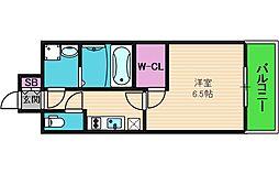 エスプレイス大阪城サウスコンフォート 14階1Kの間取り